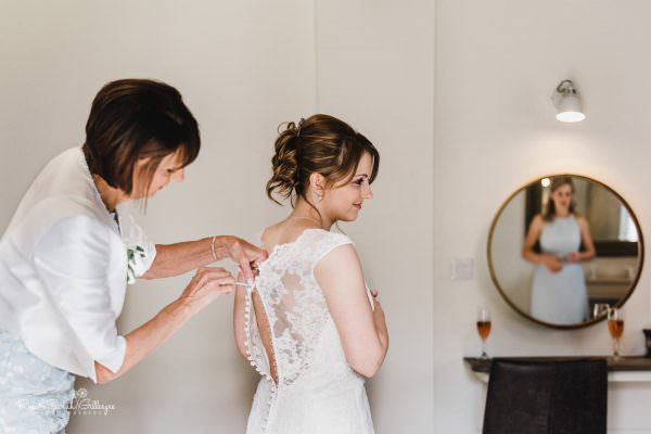 Bride preparations at Swallows Nest Barn