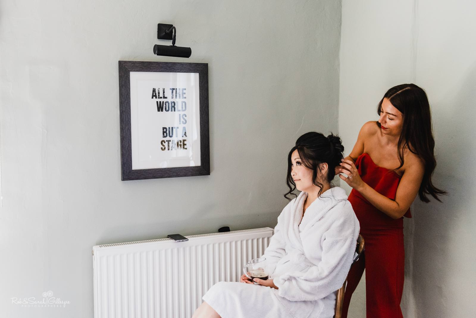Bride and friends prepare for wedding at The Townhouse in Groom and friends prepare for wedding in Stratford upon Avon