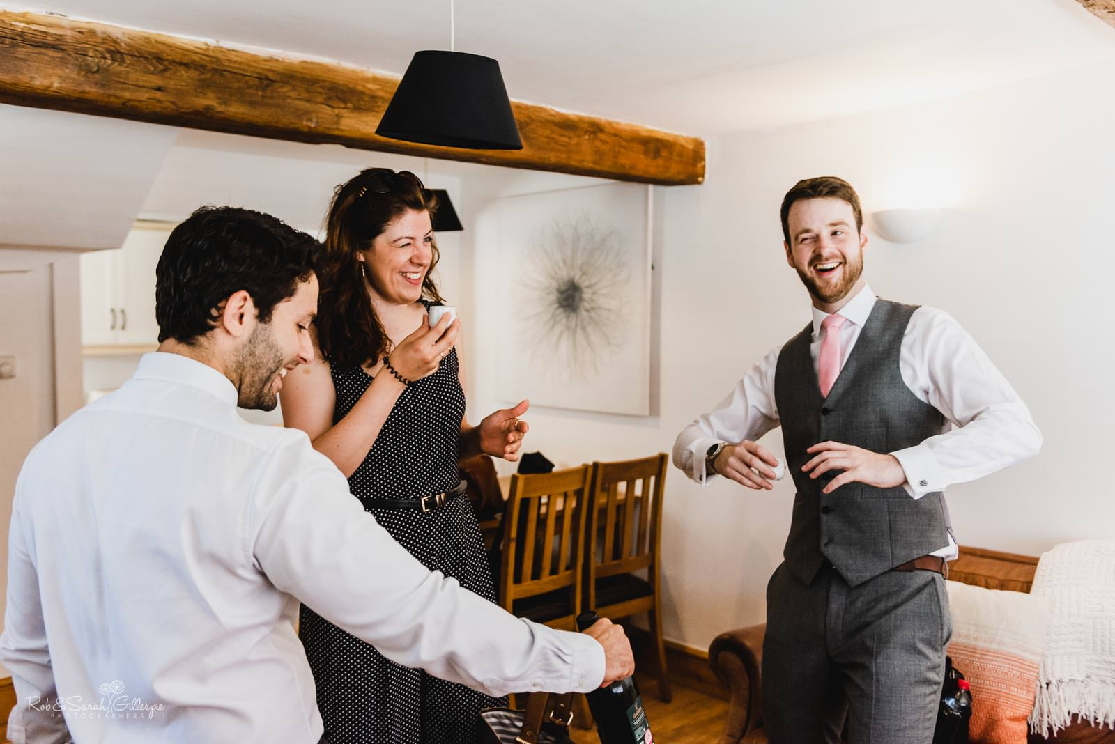 Groom and friends prepare for wedding in Stratford upon Avon