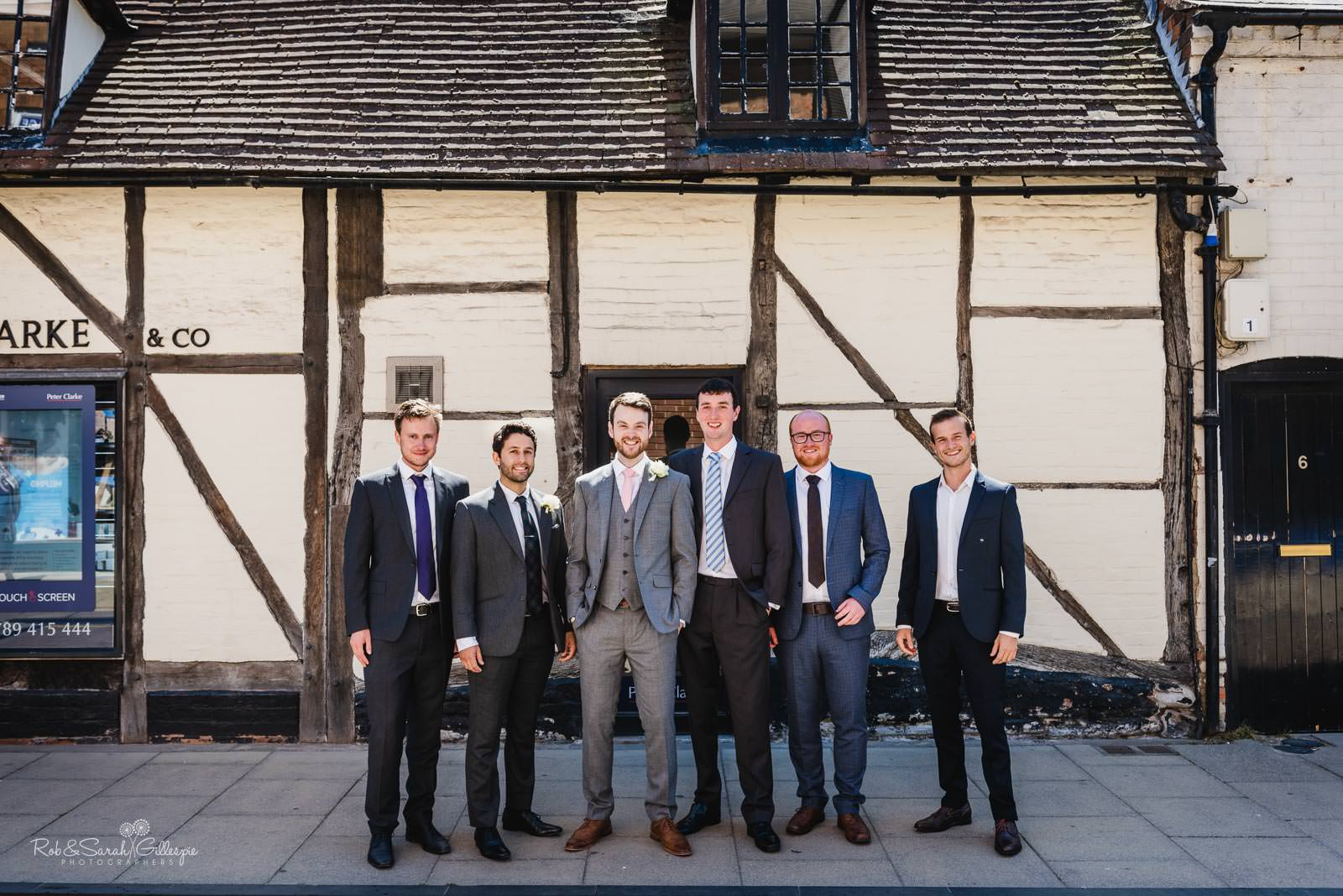 Groom and friends in Stratford upon Avon