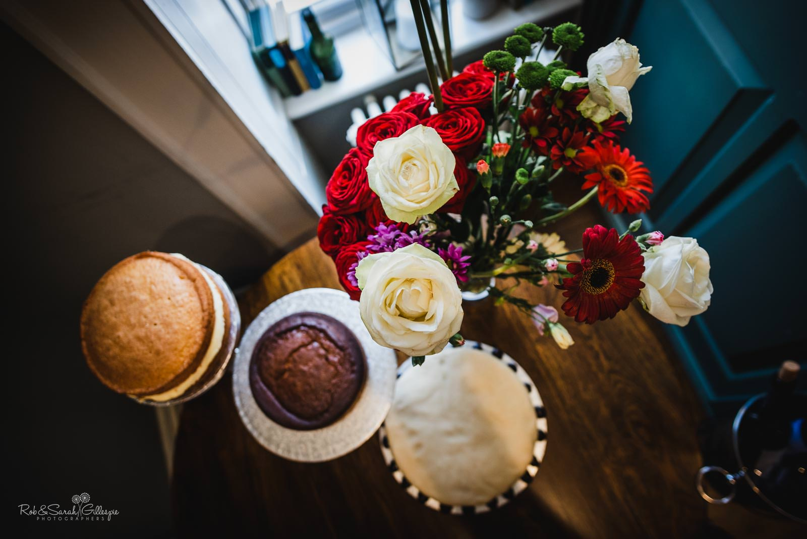 Wedding cake and flowers at The Townhouse in Stratford upon Avon