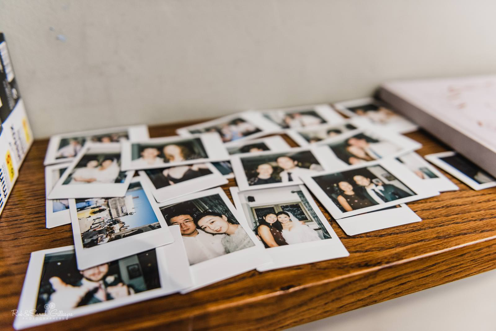 Polaroid pictures of wedding guests at Stratford upon Avon