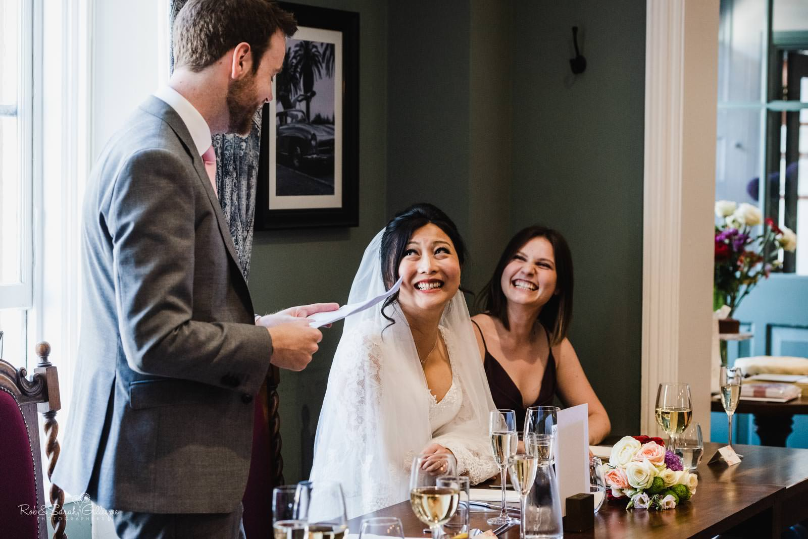 Wedding speeches at The Townhouse in Stratford upon Avon