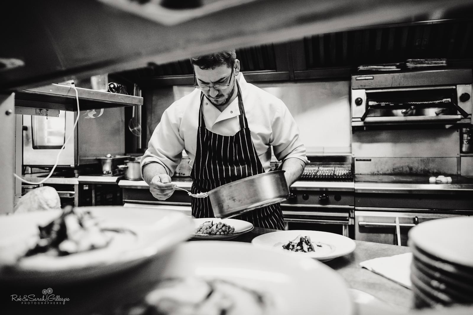 Chef prepares wedding meal at Townhouse in Stratford upon Avon