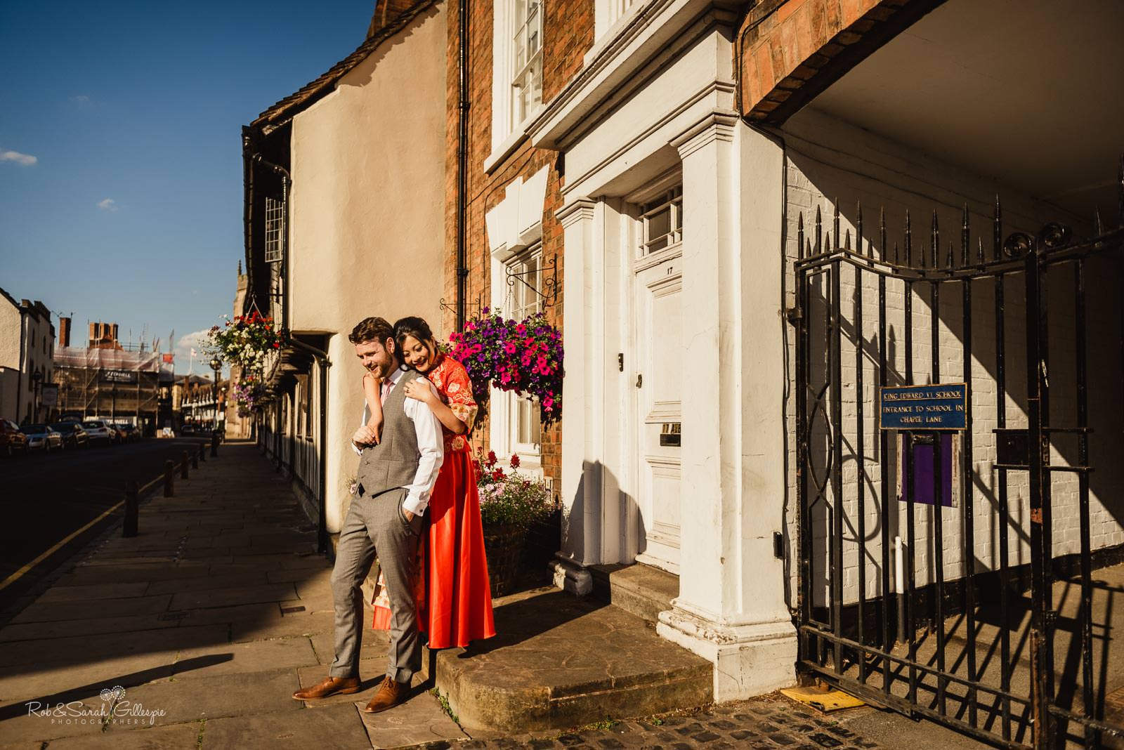 Bride and groom relaxed photography in Stratford upon Avon