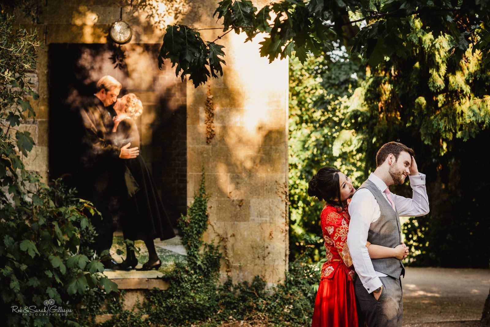 Bride and groom in Stratford upon Avon