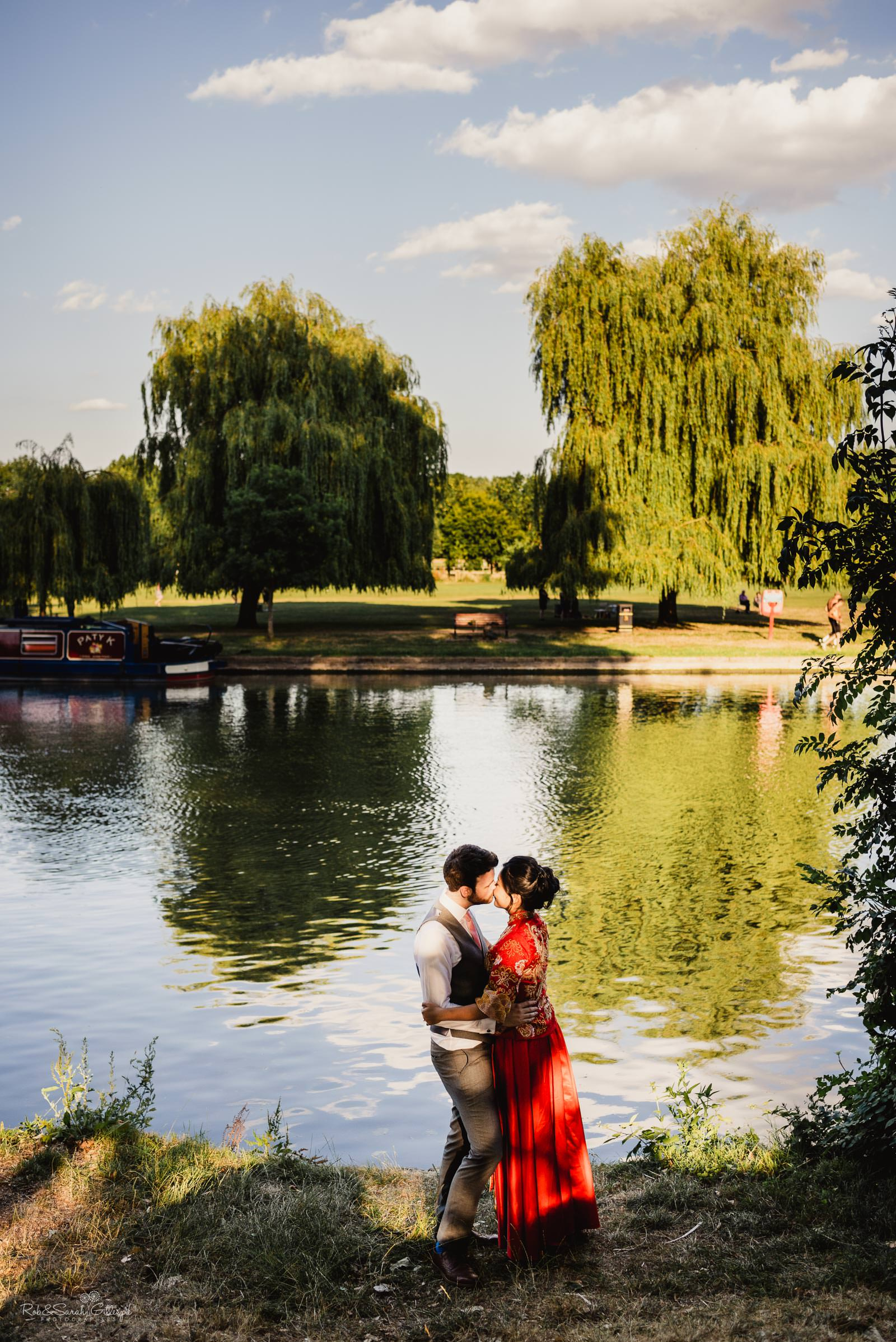 Bride and groom at Stratford upon Avon riverside