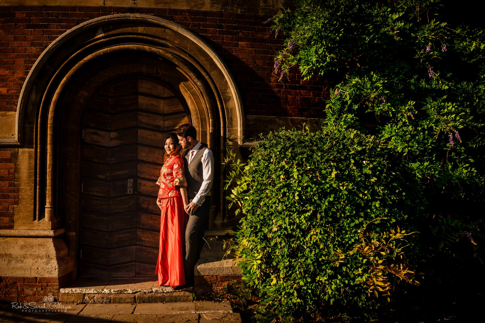Bride and groom together at RSC in Stratford upon Avon