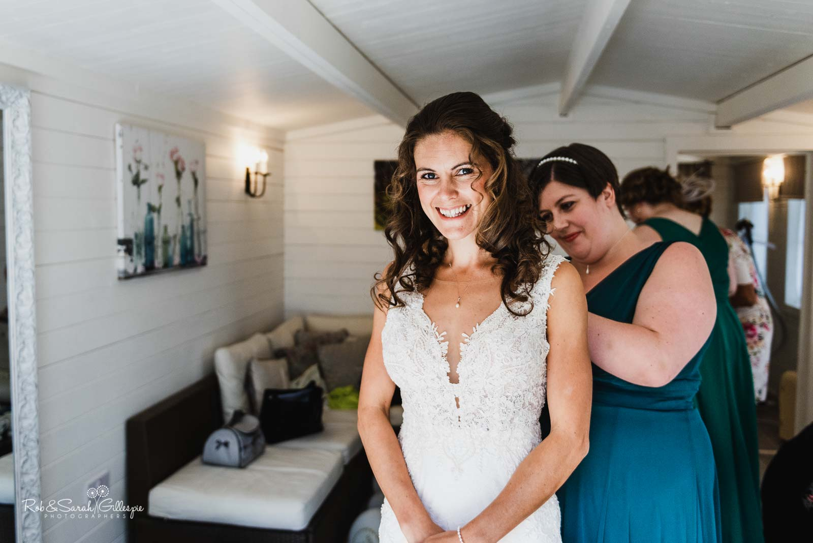 Bride getting ready for wedding at Wethele Manor