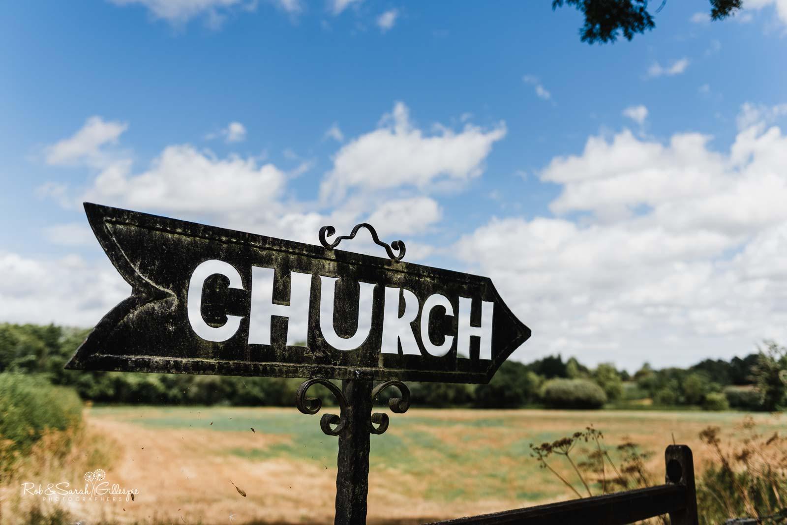 Church sign at St Giles church Packwood