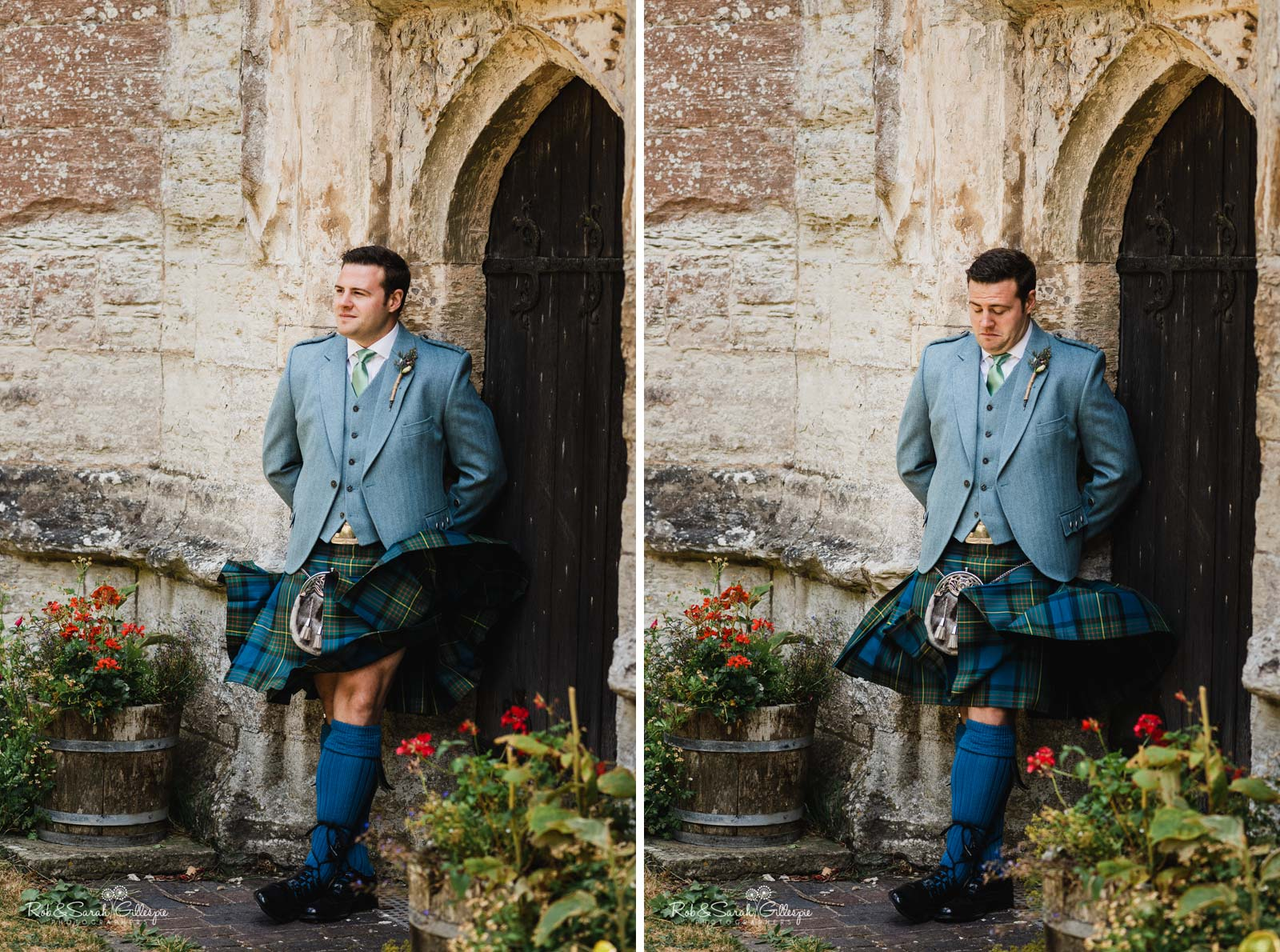 Groom poses for photo as kilt flies up at St Giles church Packwood