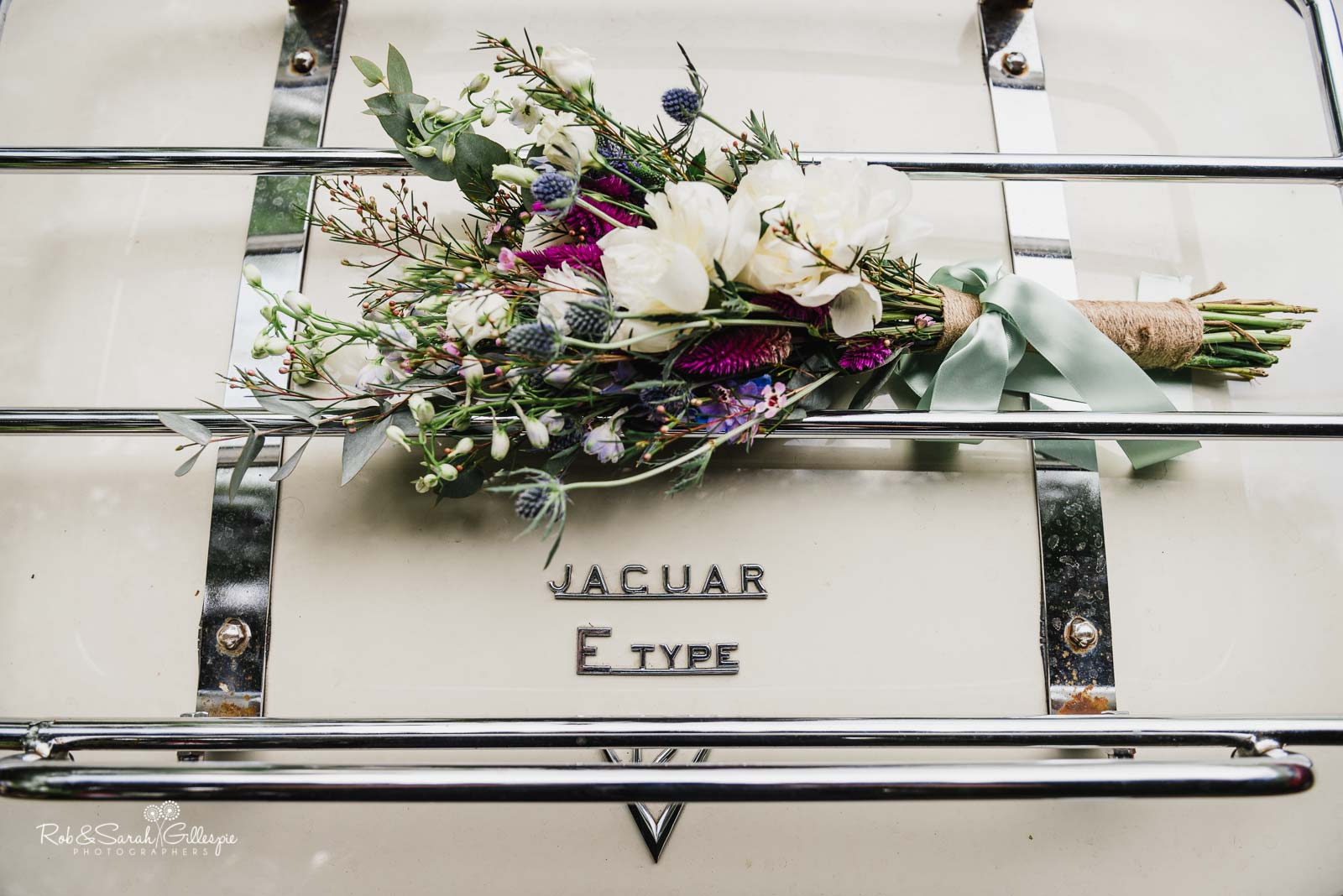 Bridal flowers on Jaguar E-Type