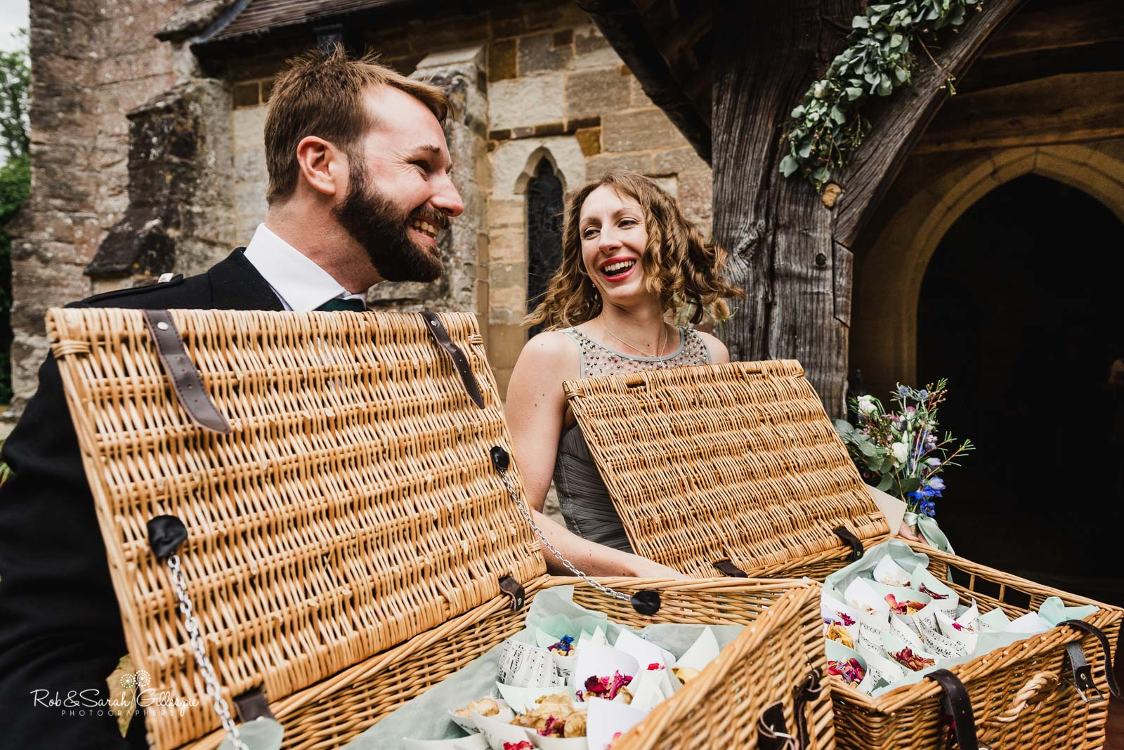 Confetti at St Giles church Packwood