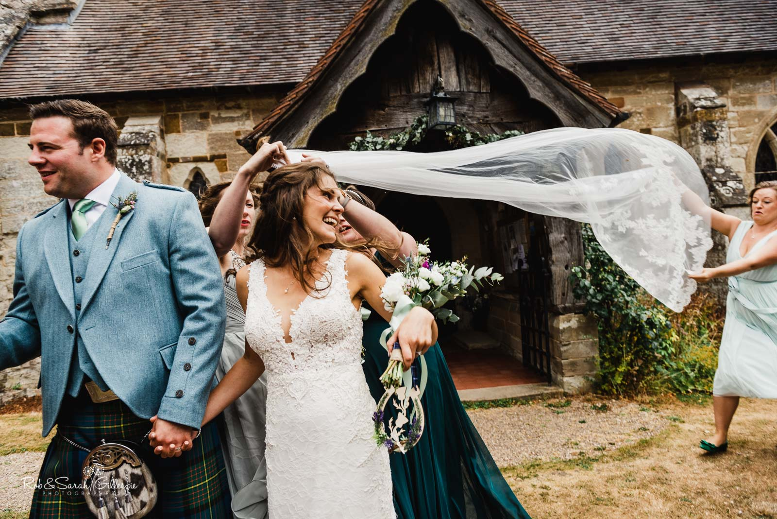 Natural wedding photography at St Giles church Packwood