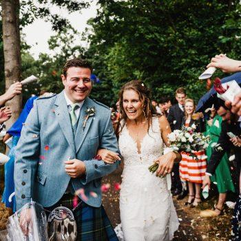 Confetti at St Giles church Packwood wedding