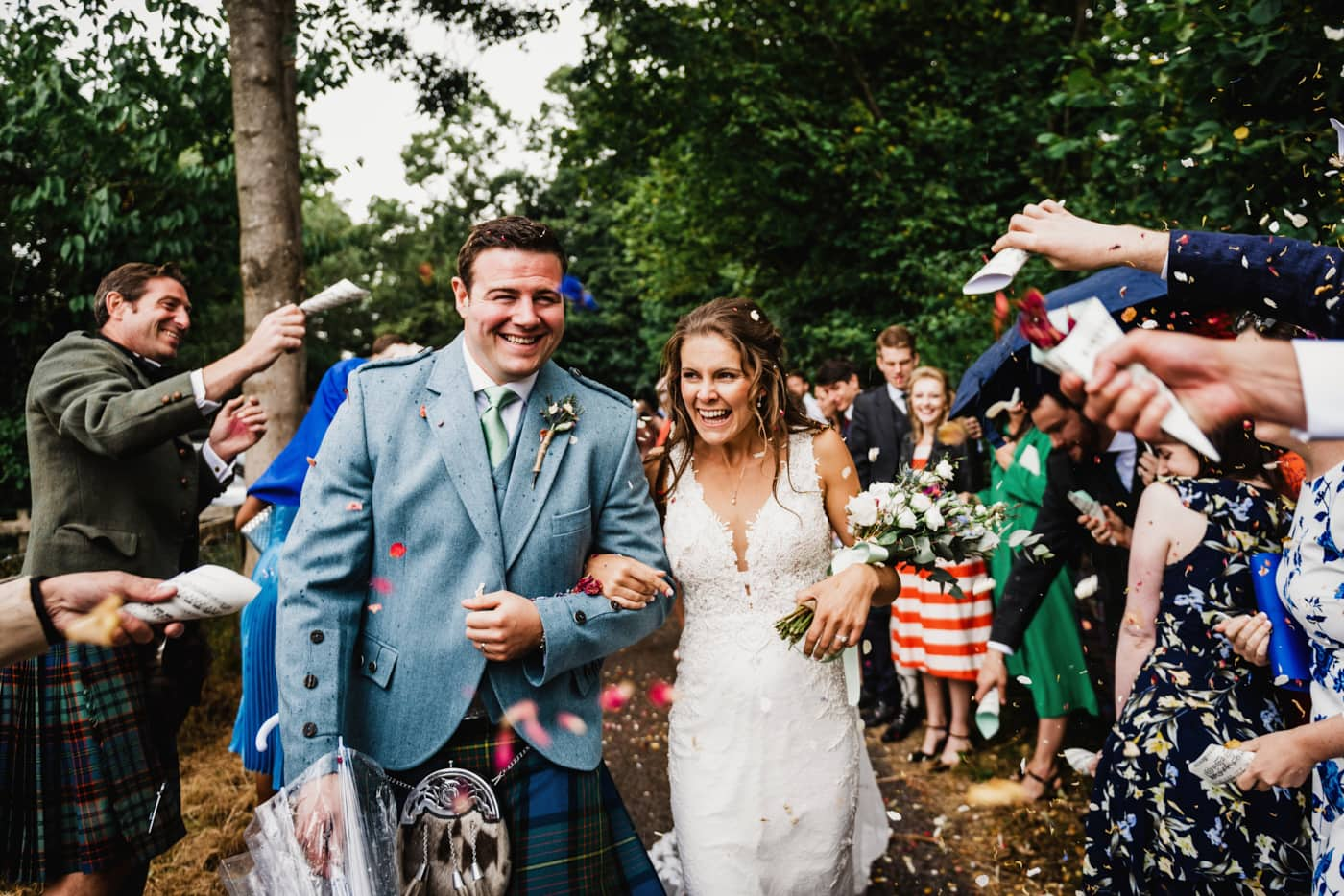 Confetti at St Giles church Packwood wedding