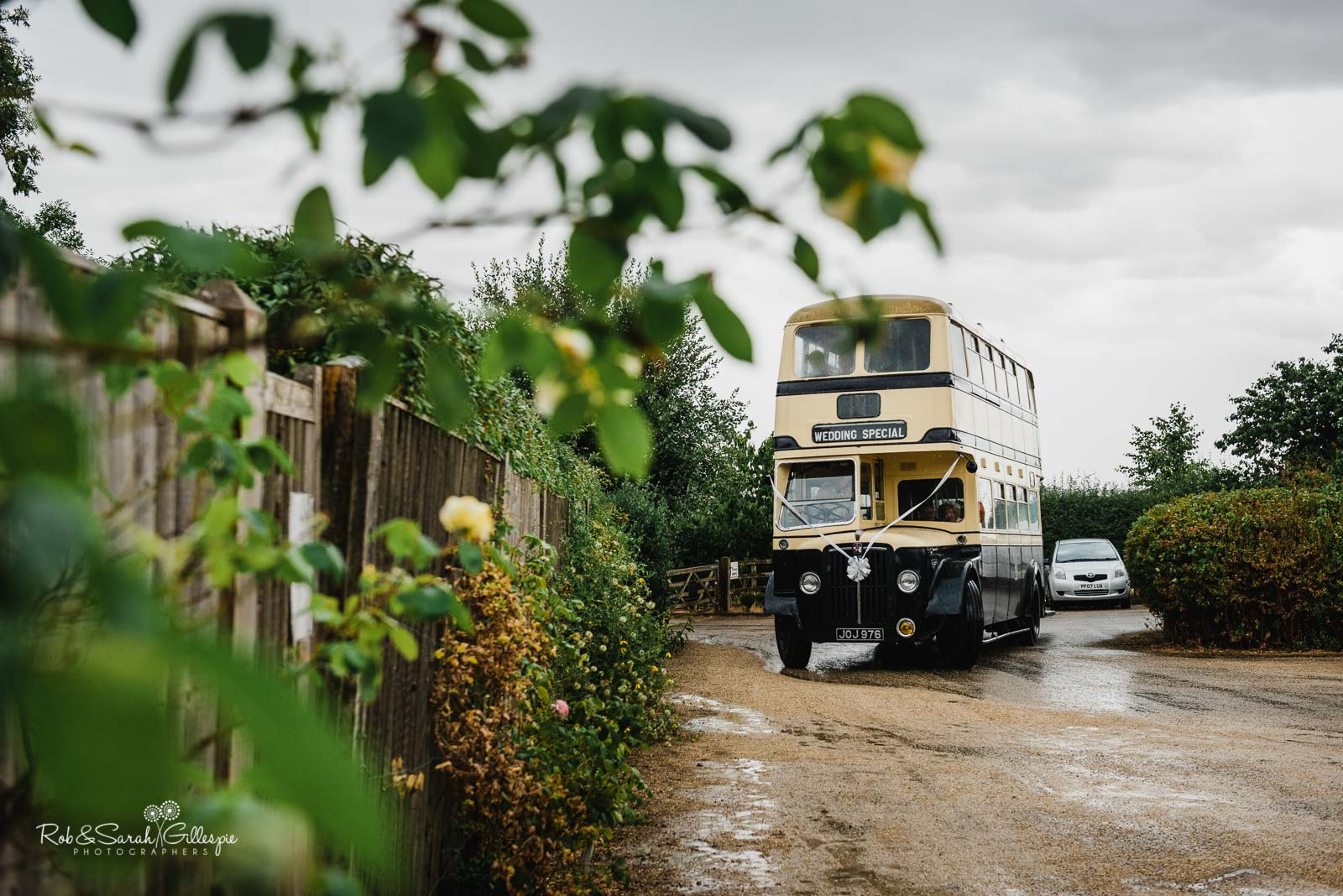 Wedding bus arrives at Wethele Manor