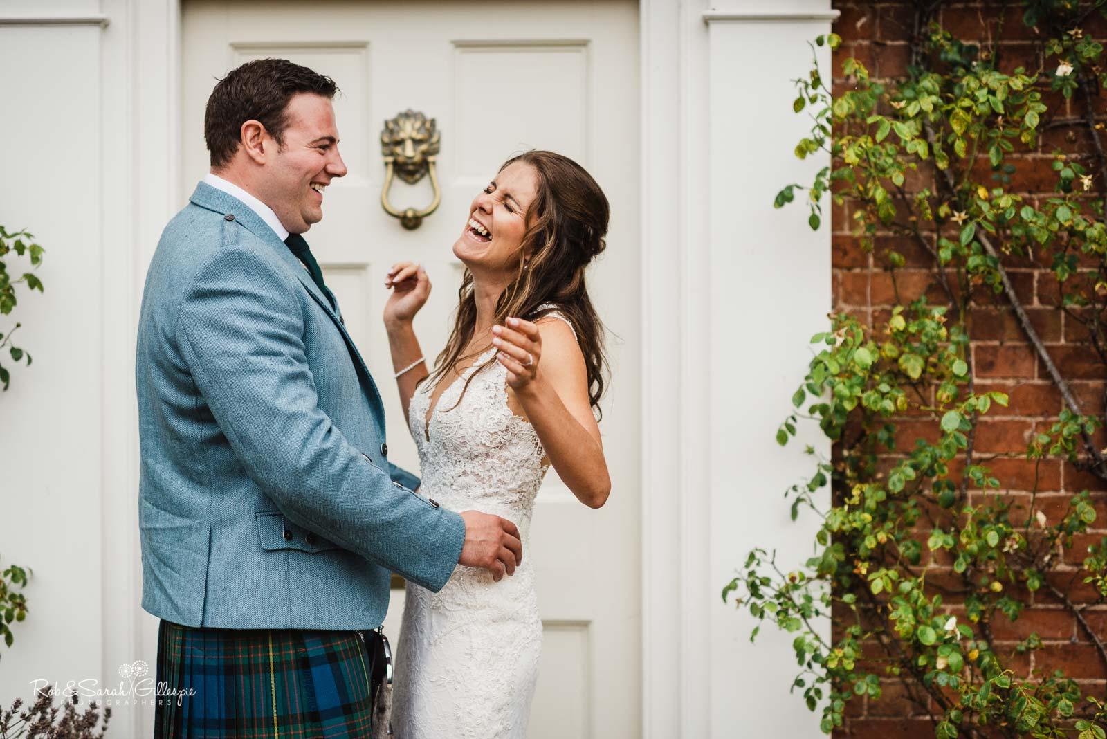 Bride and groom laughing together at Wethele Manor