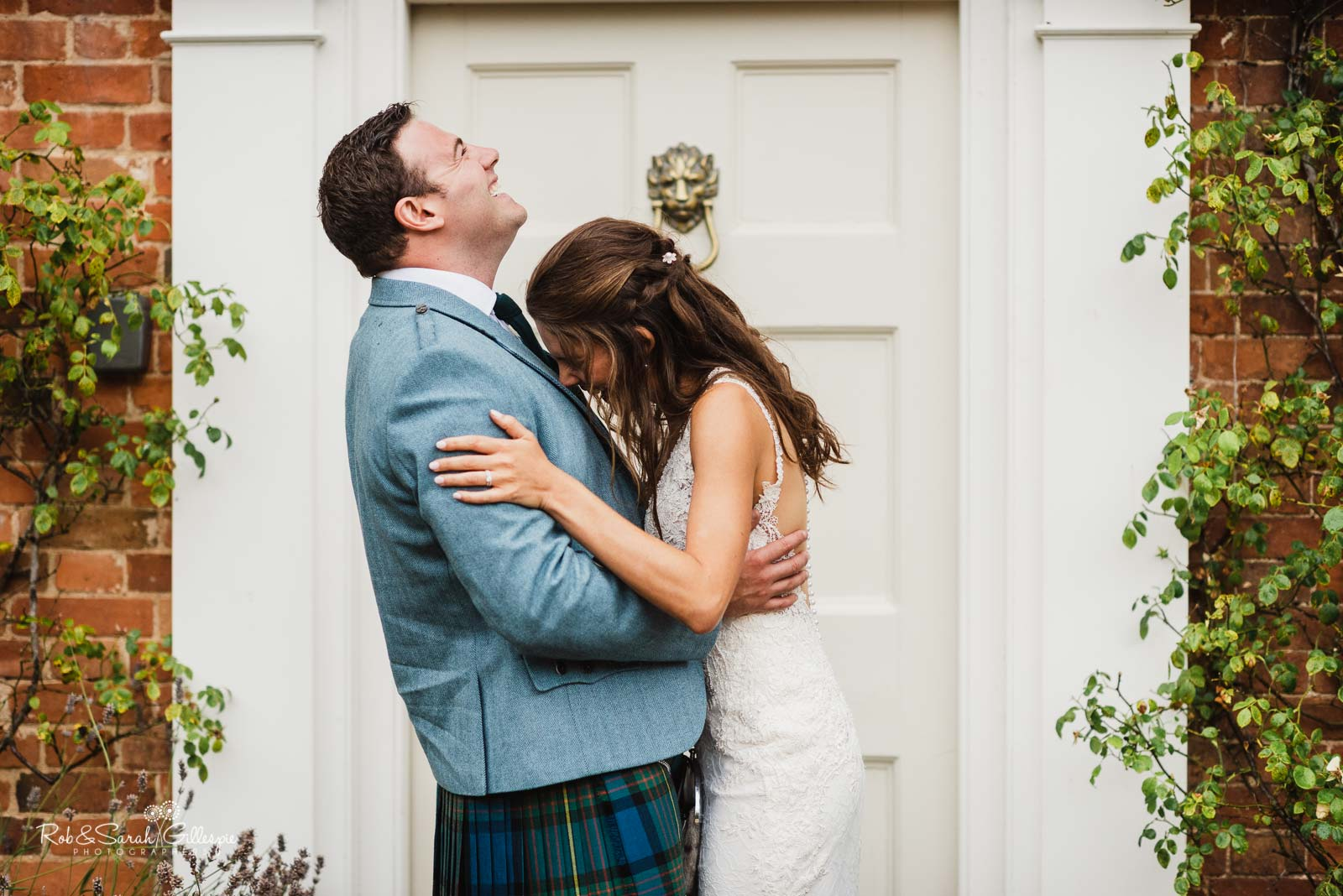 Bride and groom laughing at Wethele Manor