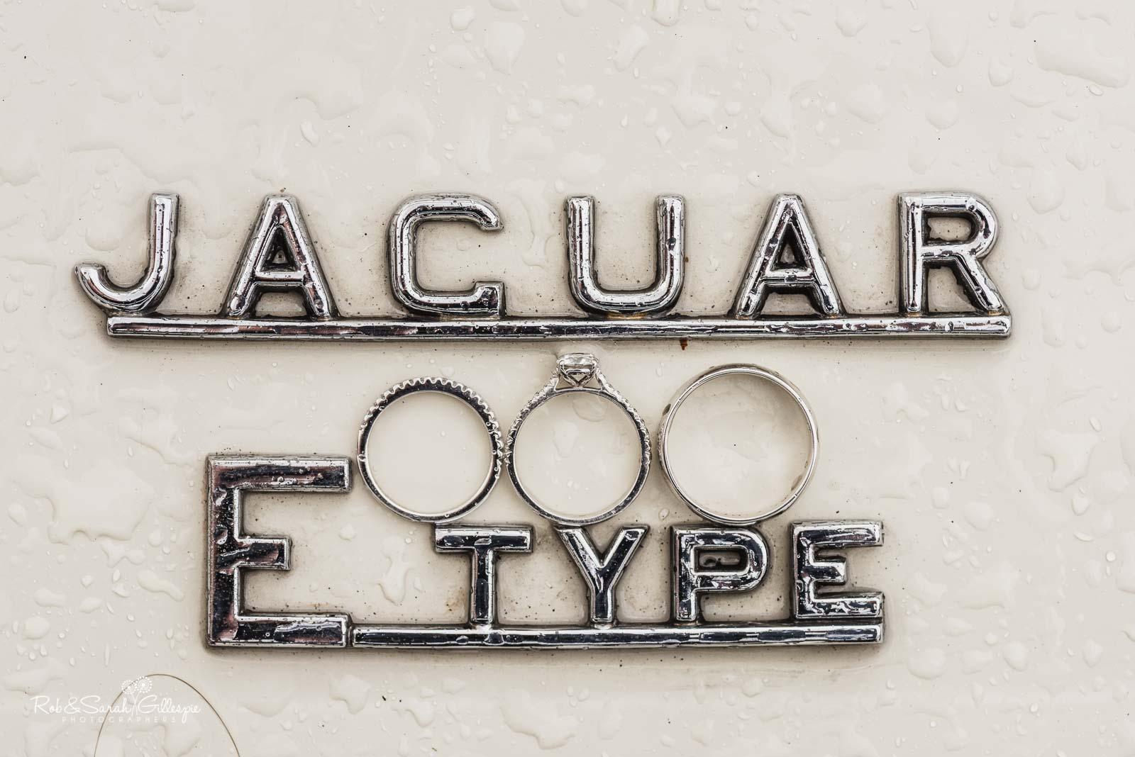 Wedding rings on Jaguar E Type