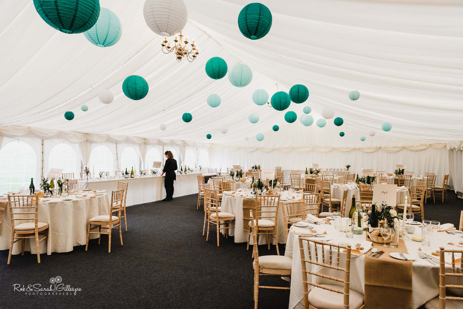 Marquee at Wethele Manor set up for wedding breakfast
