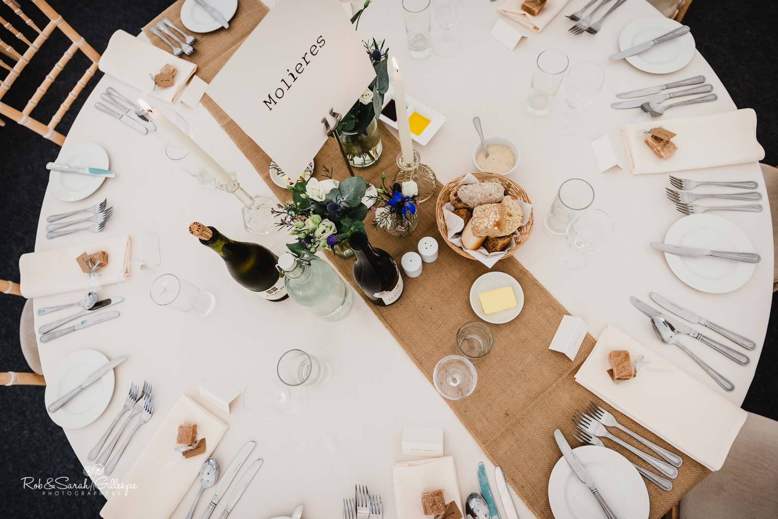 Wedding table details at Wethele Manor
