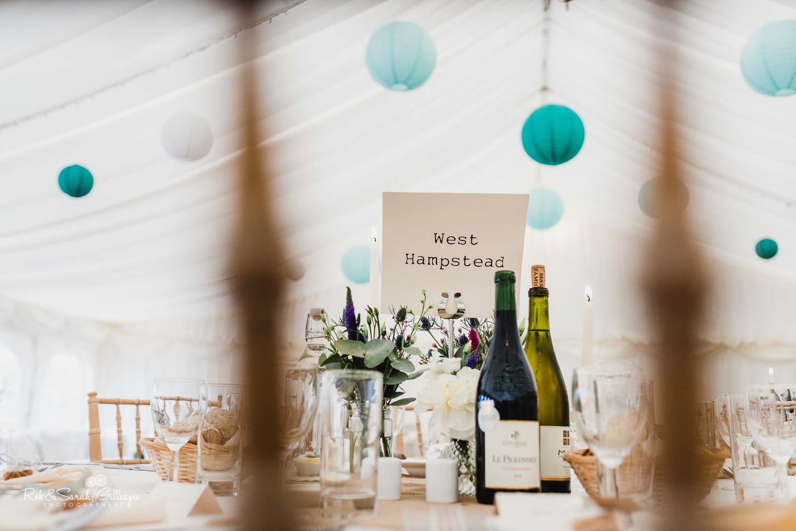Wedding marquee details at Wethele Manor