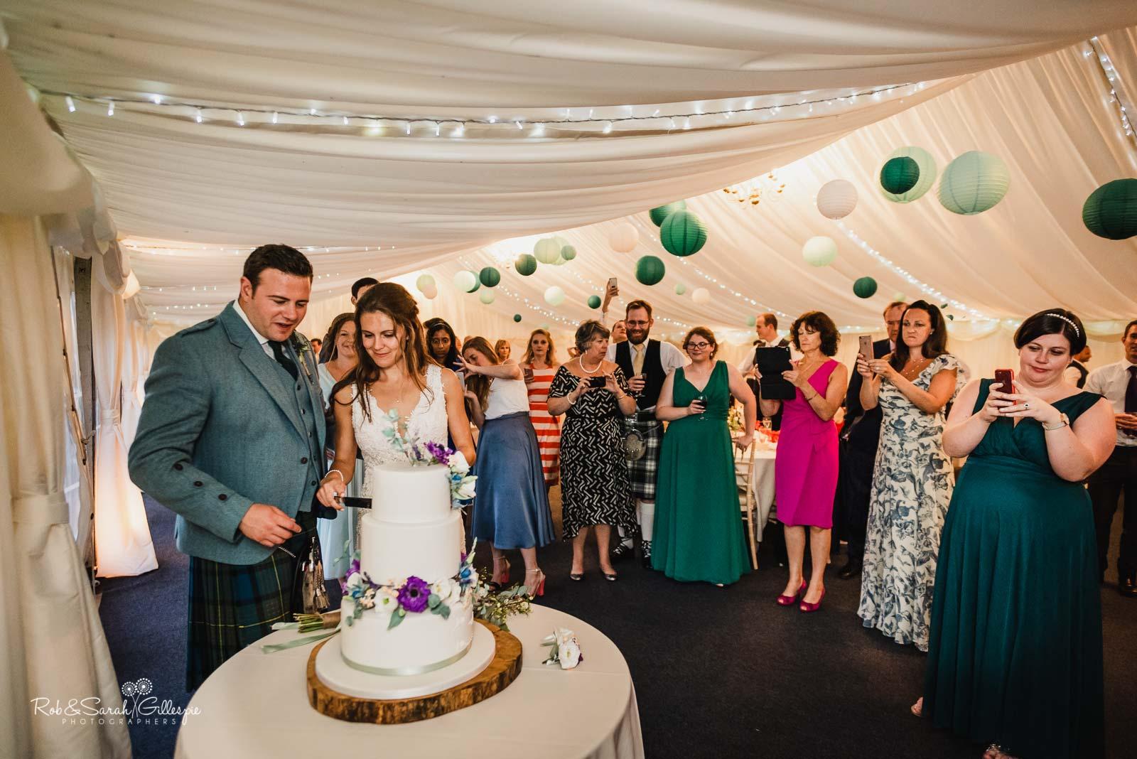 Wedding cake cut at Wethele Manor