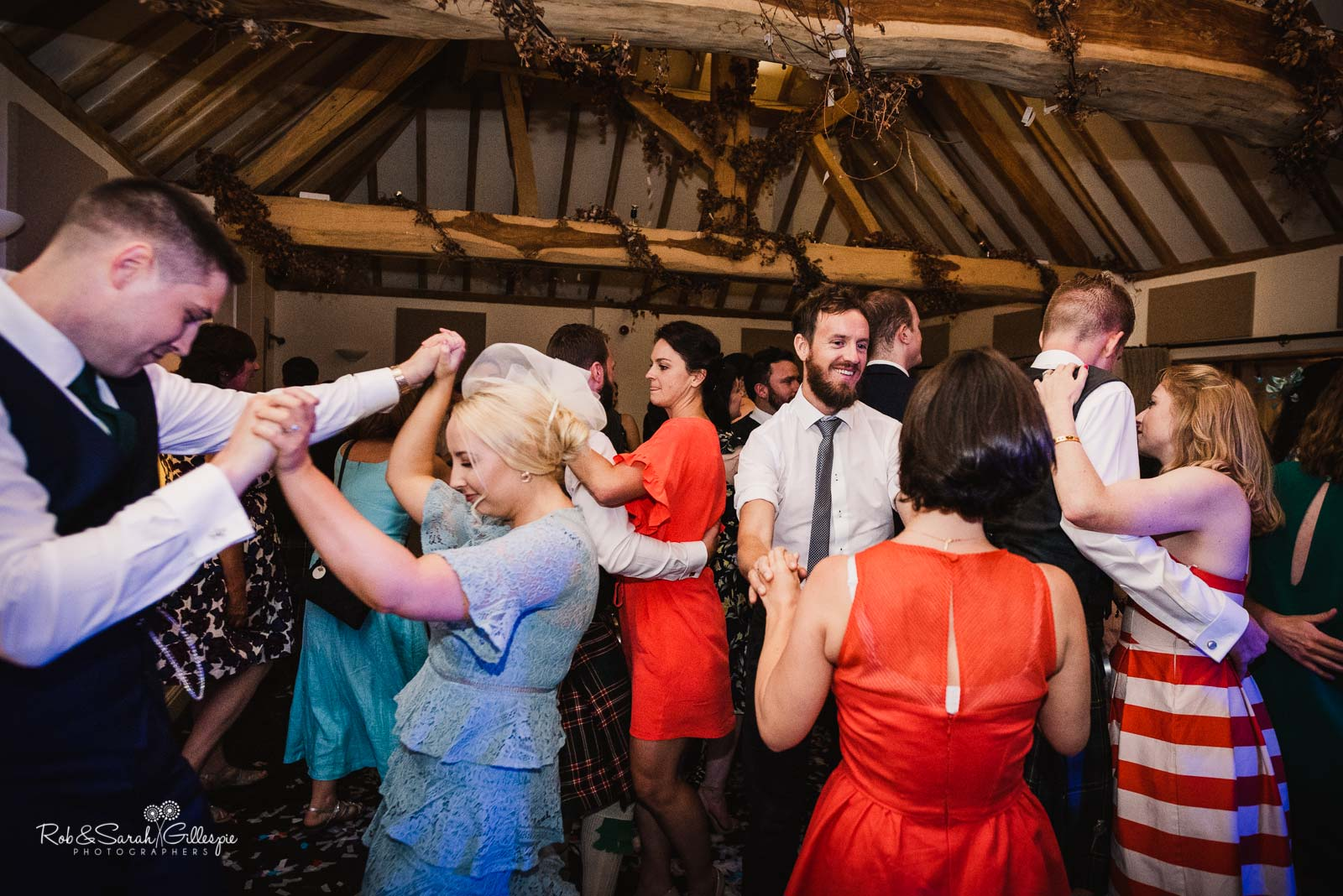 Wedding guests dancing at Wethele Manor