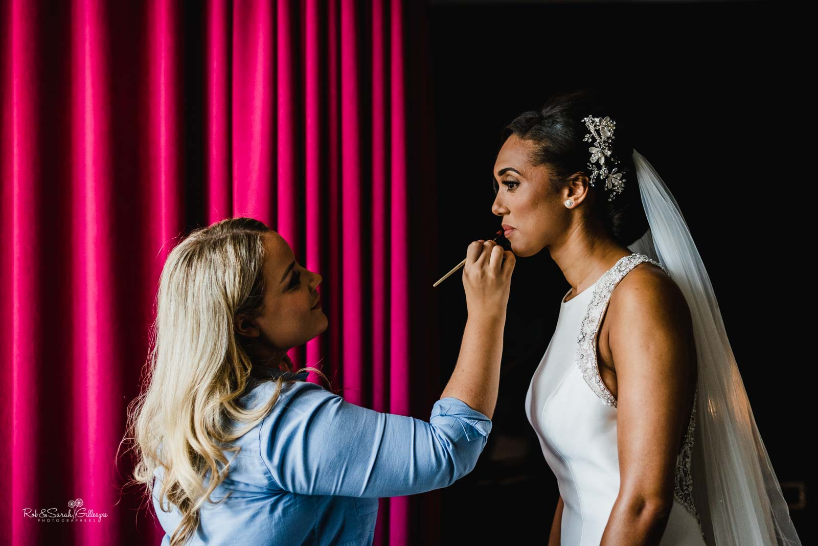 Bride gets ready for wedding at Hampton Manor