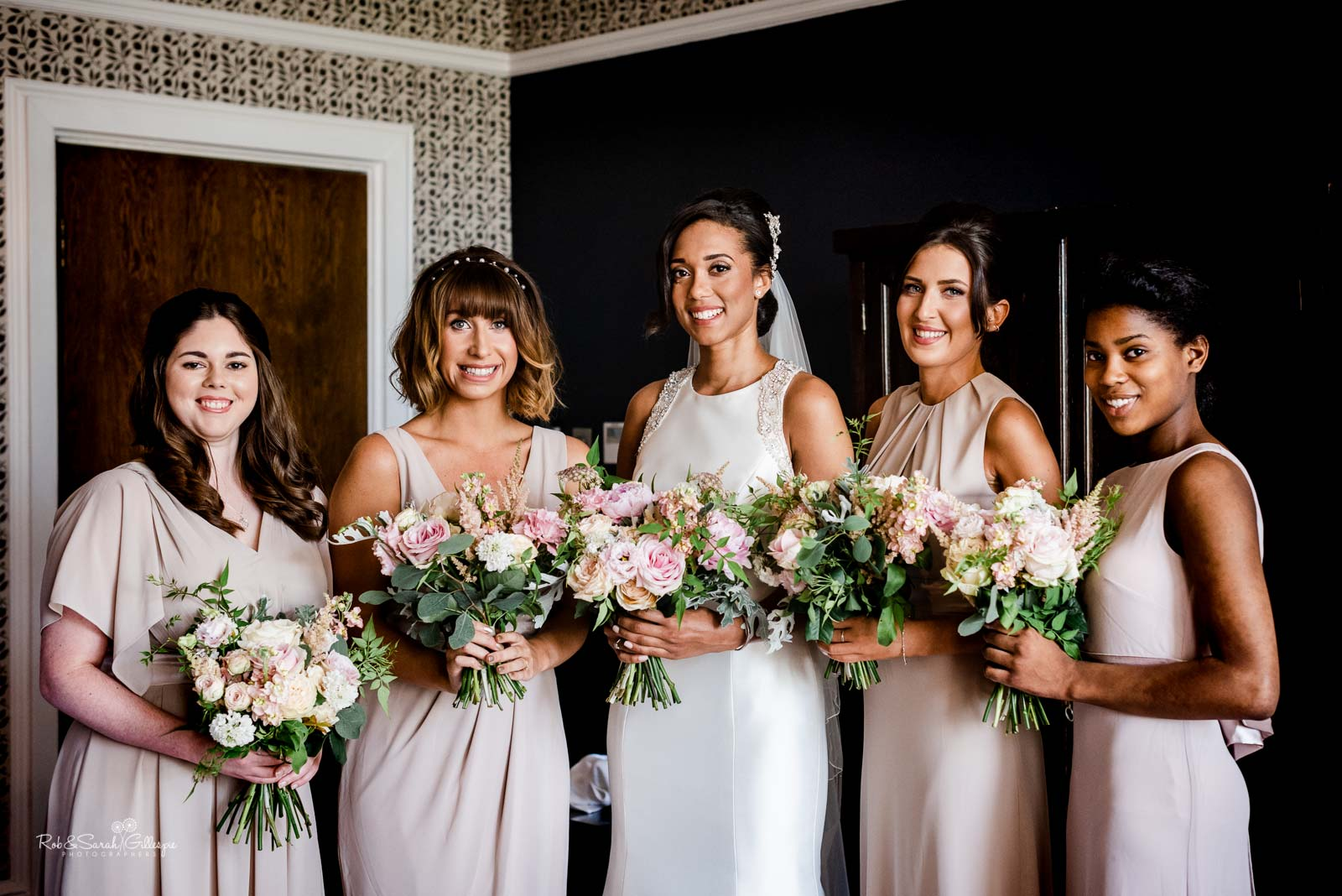 Group photo at Hampton Manor of bride and bridesmaids