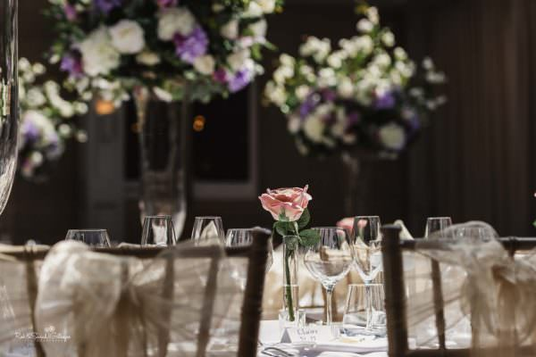 Wedding table details at Hampton Manor