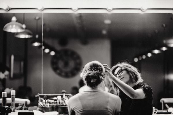 Makeup artist and bride at The Mill Barns