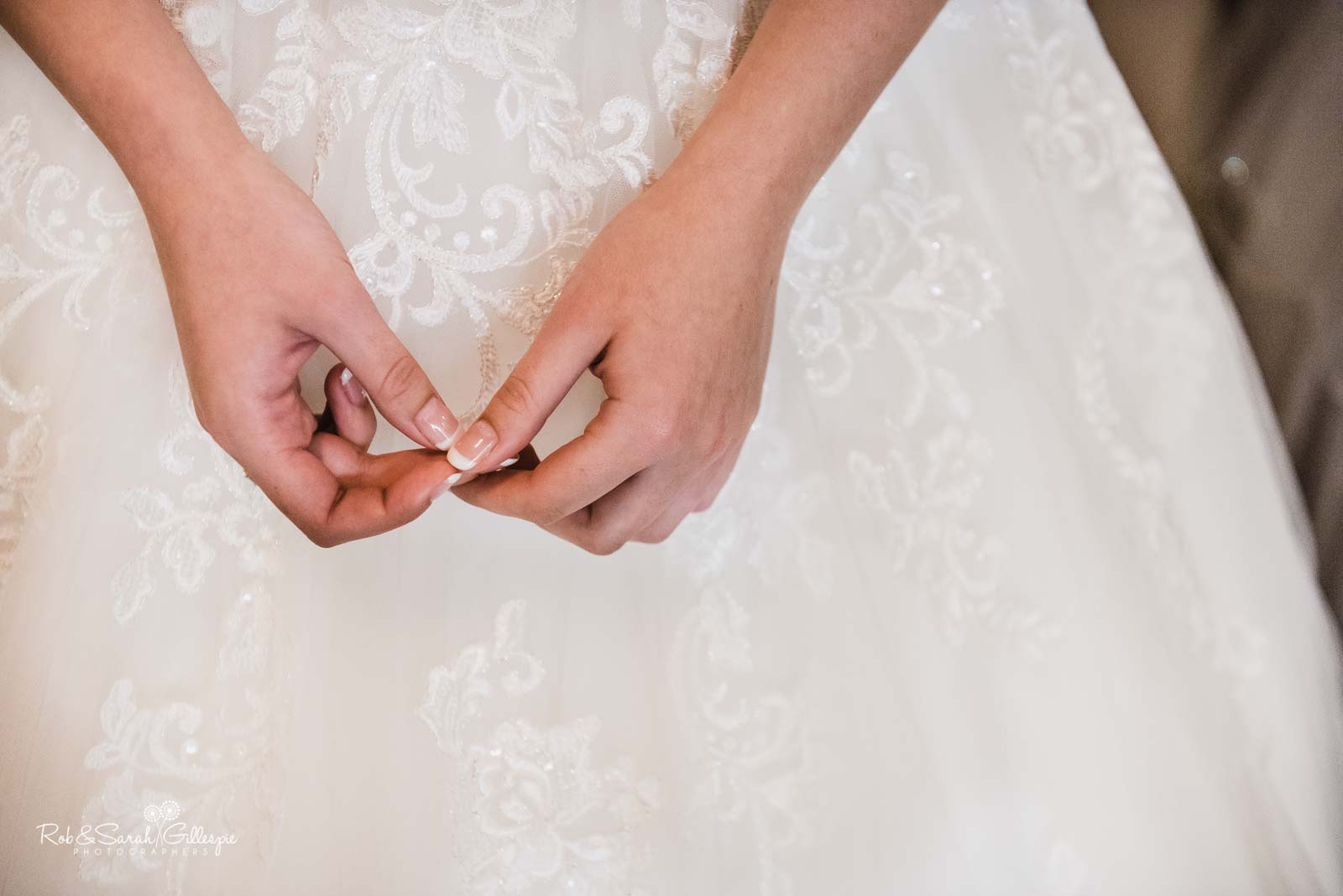 Bride's hands at The Mill Barns