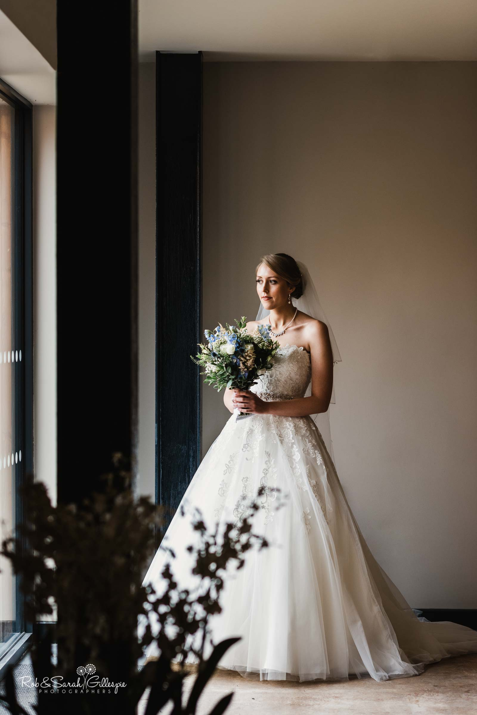 Stunning portrait of bride at The Mill Barns wedding venue