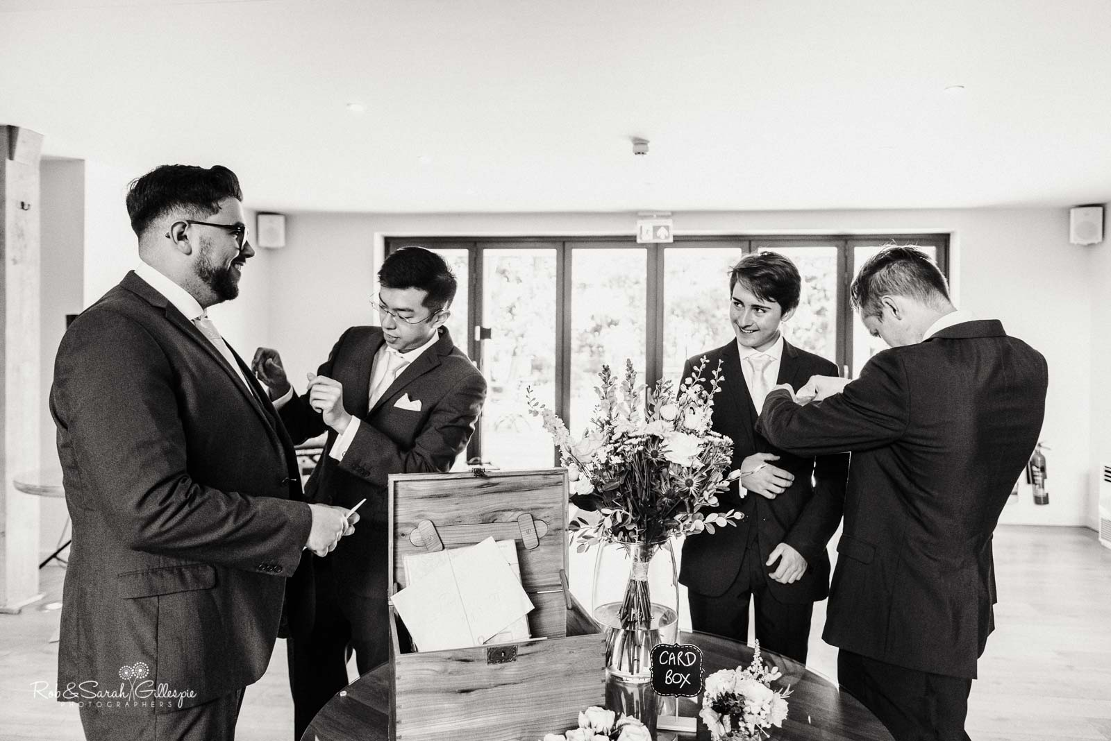 Groomsmen before ceremony at The Mill Barns wedding