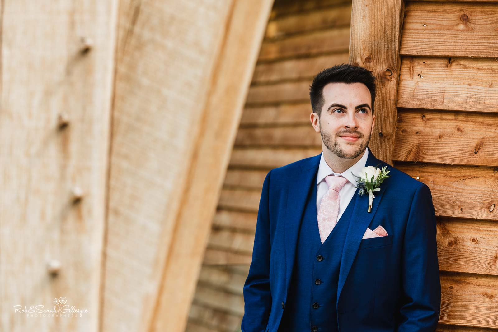Portrait of groom at The Mill Barns wedding venue