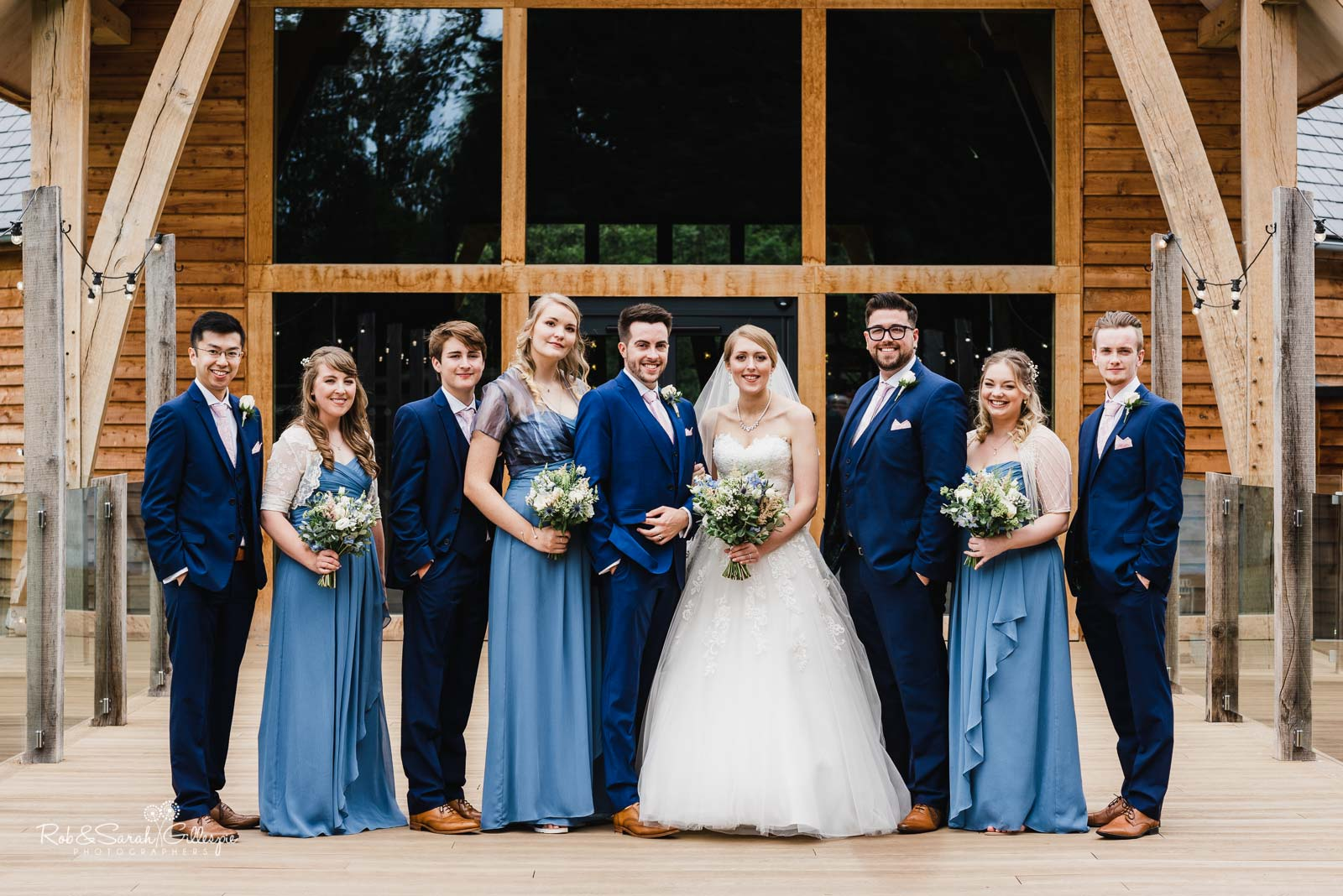 Group photo of bridal party at The Mill Barns in Shropshire