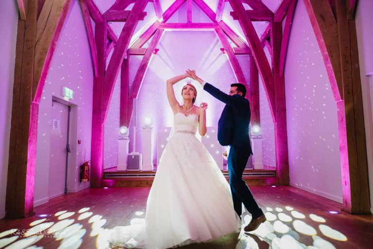 Bride and groom first dance at The Mill Barns