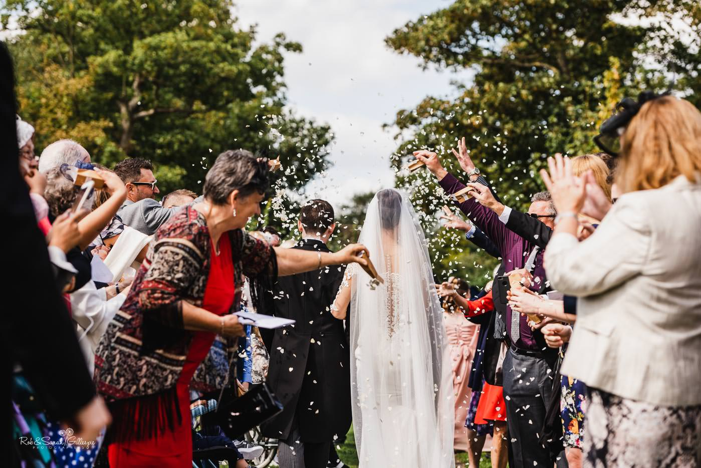 Wedding confetti at Bourton-on-Dunsmore church