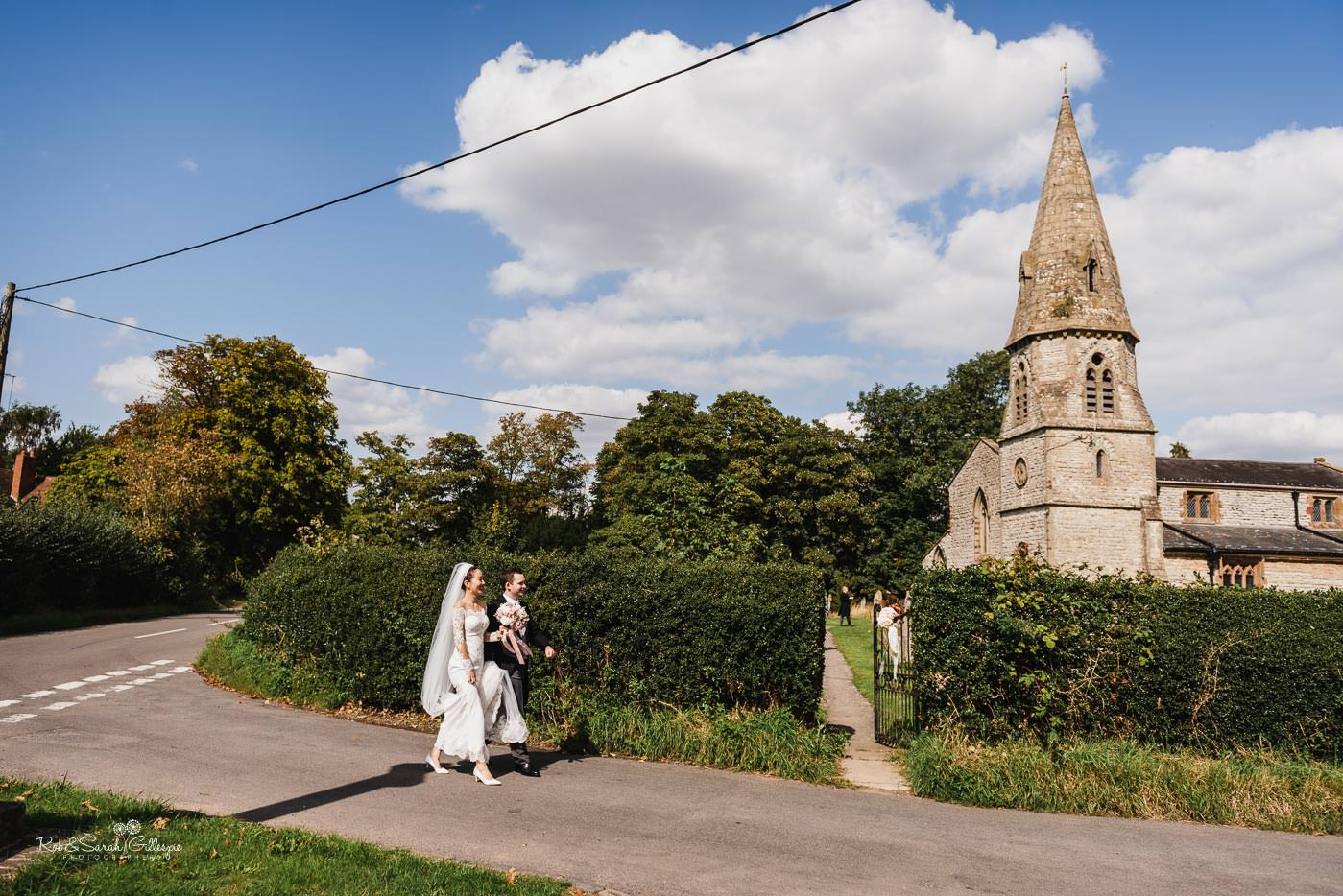 Bride and groom at Bourton-on-Dunsmore church