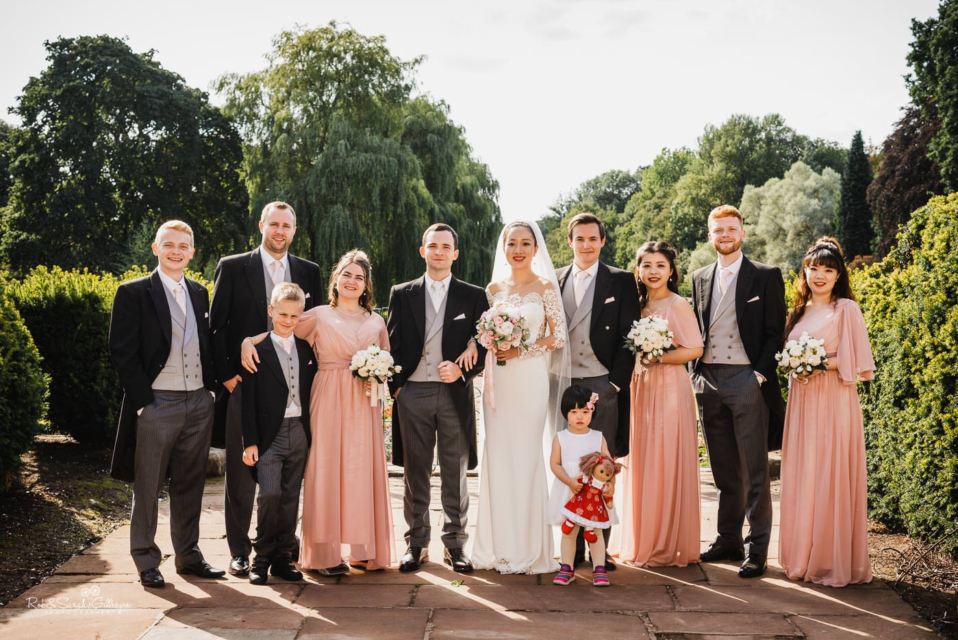 Wedding group photo of bridal party at Coombe Abbey