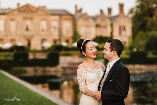 Bride and groom at Coombe Abbey in Warwickshire