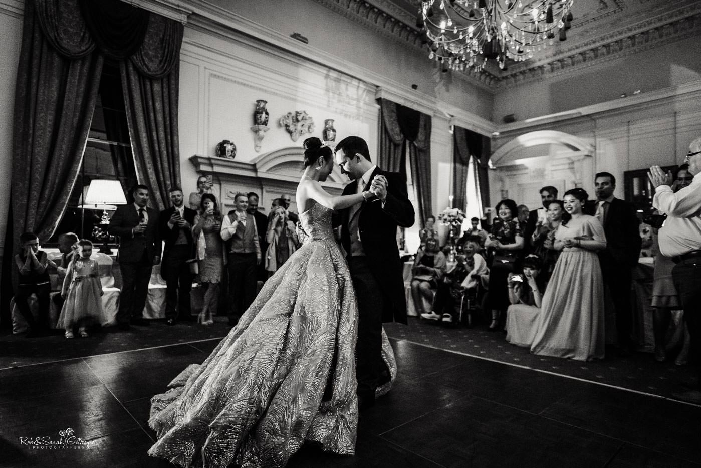 Bride and groom first dance at Coombe Abbey wedding