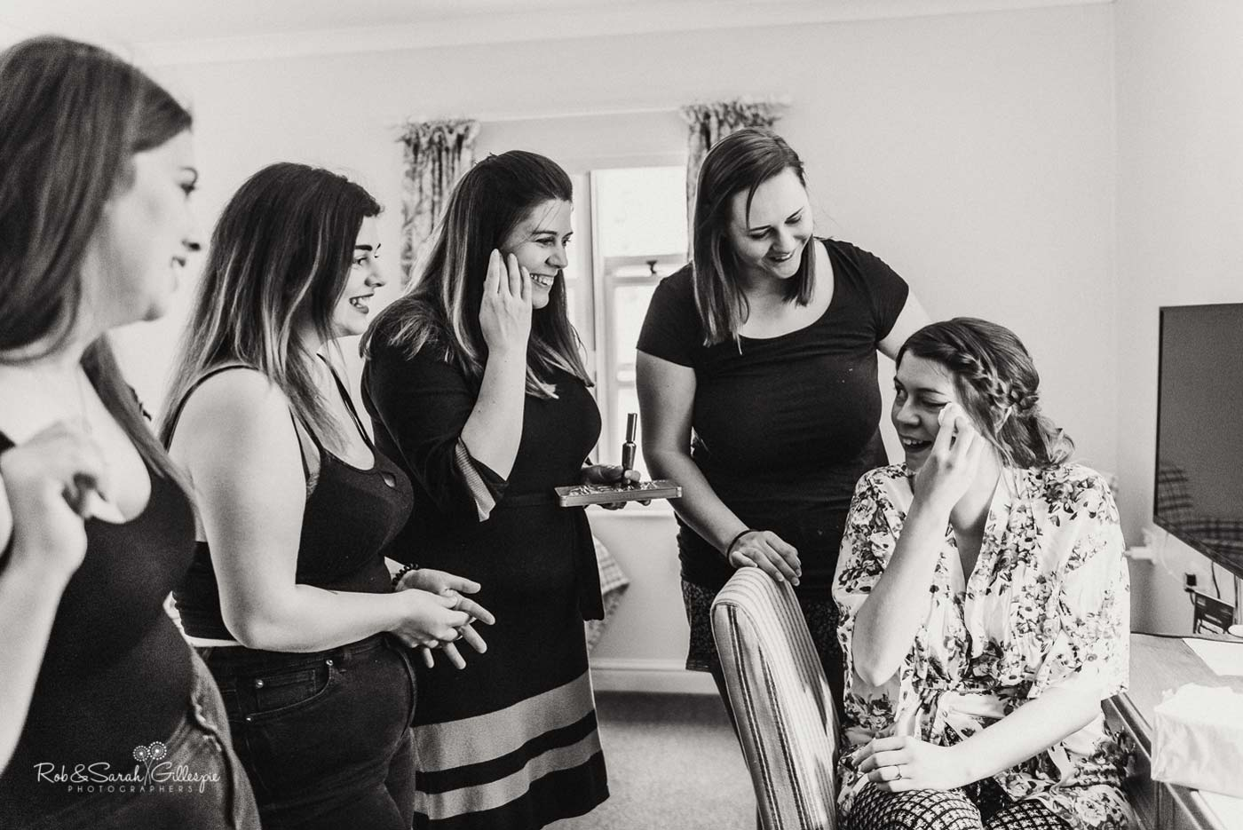 Bride and bridesmaids get ready for wedding at Hazel Gap Barn
