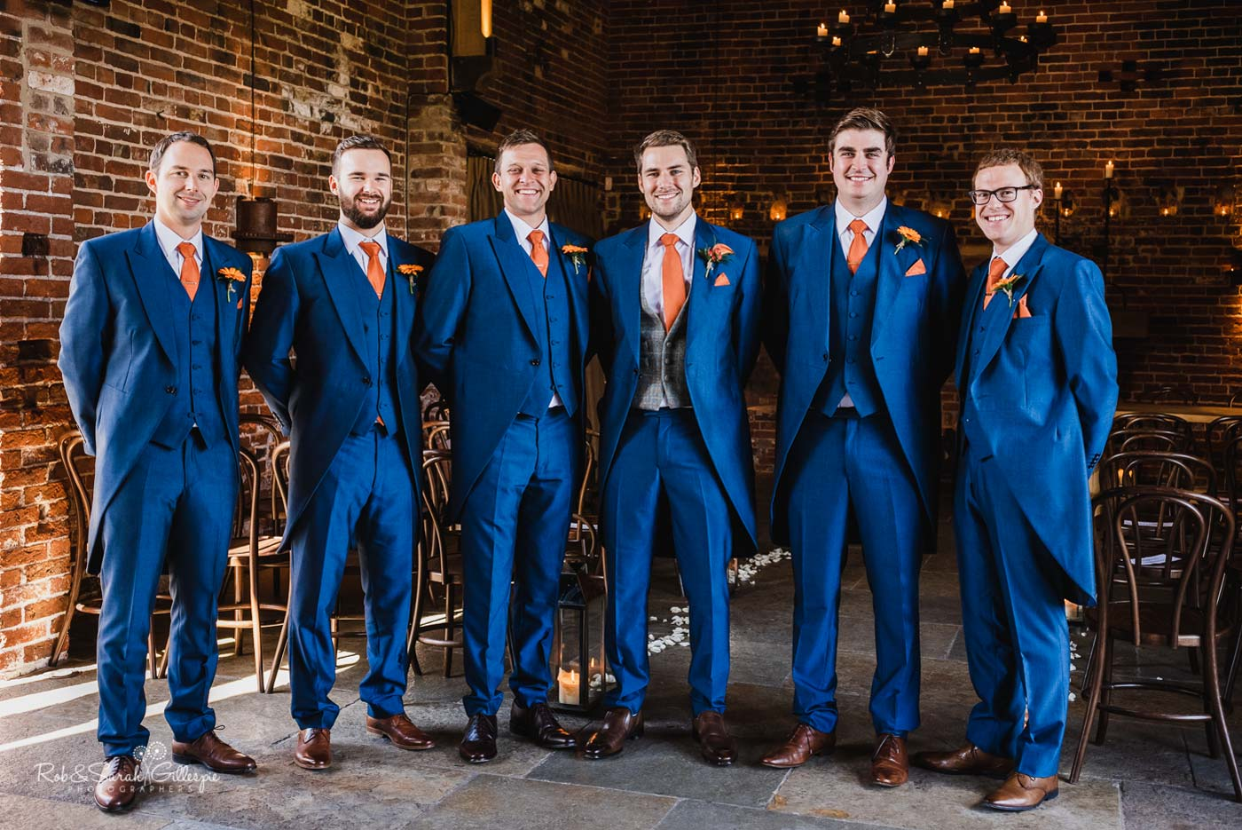 Group photo of groom and ushers at Hazel Gap Barn