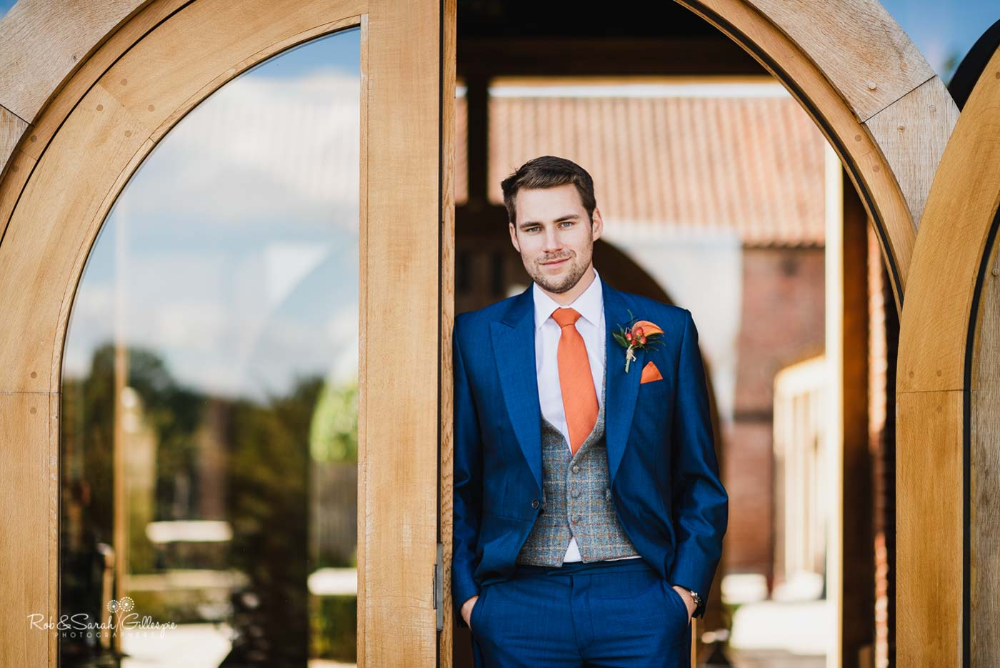 Groom portrait at Hazel Gap Barn wedding