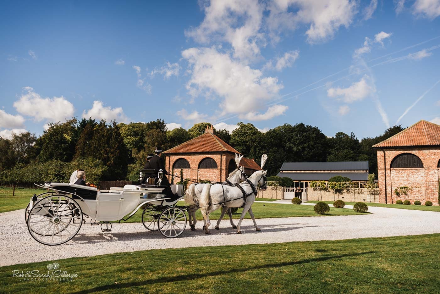 Horse and carriage at Hazel Gap Barn wedding