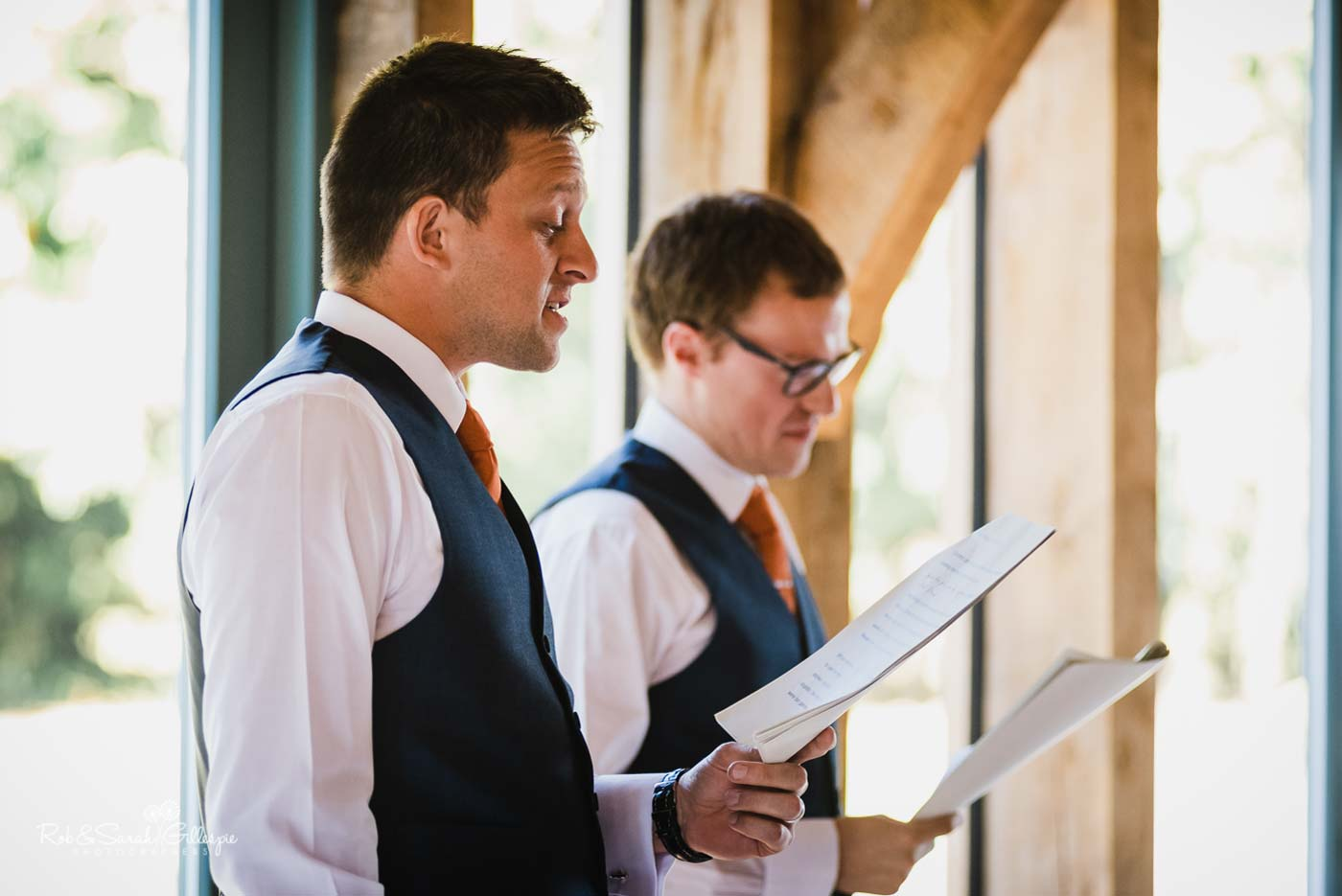 Wedding speeches at Hazel Gap Barn