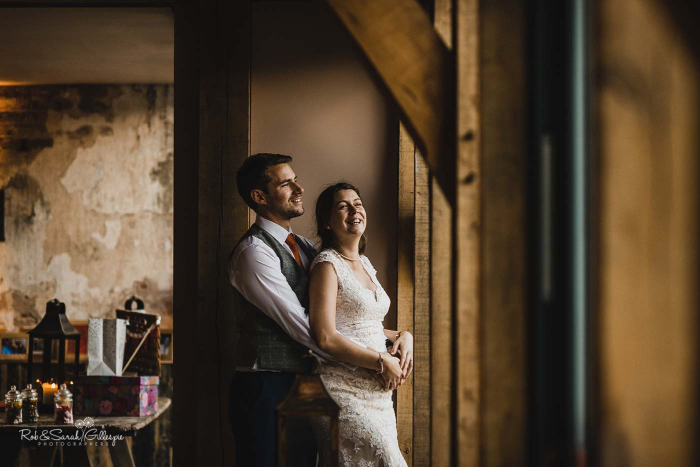 Bride and groom inside Hazel Gap Barn